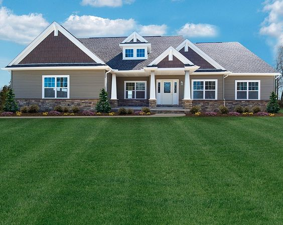 New craftsman homes craftsman style ranch floor plan by for Ranch home builders ohio