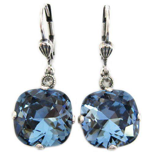 Catherine Popesco Silvertone Crystal Round Earrings, Deep Blue 6556 Catherine Popesco