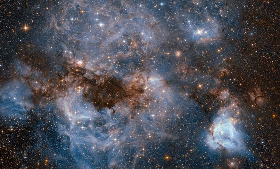 Hubble Peers into the Storm Hubble sees a maelstrom of glowing gas and dark dust within one of the Milky Ways satellite galaxies the Large Magellanic Cloud. September 09 2016