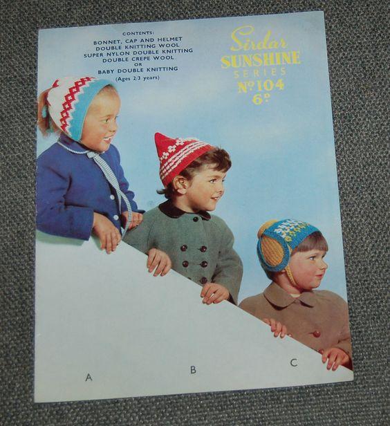 Vintage Knitting Pattern Sirdar Sunshine 104 childrens bonnet, cap & Helmet DK | eBay