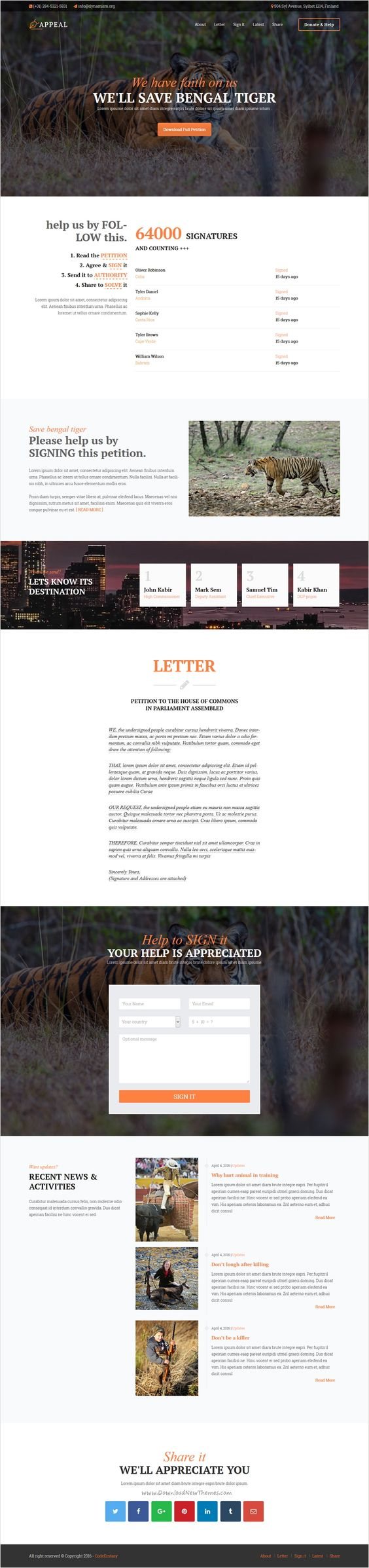 Appeal is a modern looking #WordPress theme designed & developed for #wwf #tiger #hunting #Petition Websites in mind and it also suites for other non profit Activism website with 5 unique homepage layouts download now➩ https://themeforest.net/item/appeal-fully-functional-petition-theme/16149266?ref=Datasata