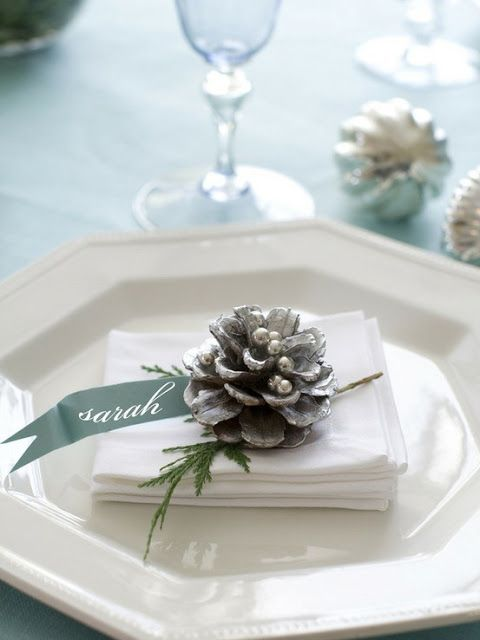 blue winter table setting