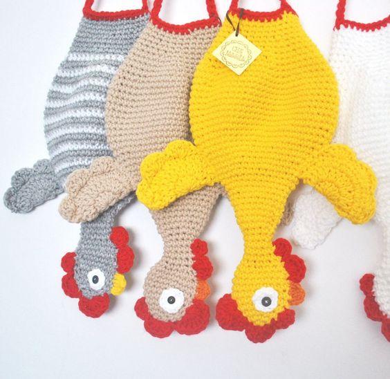 Gallina guardabolsas tejida en crochet 15963 - Bolsa para guardar agujas de tejer ...