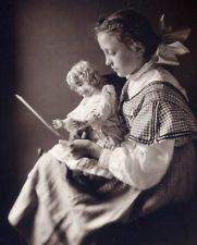 Girl & Bisque Doll Silver Gelatin Photo from Vintage c.1900  Glass Negative