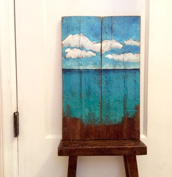 Reclaimed Wood Ocean Painting Wall Art for Beach by ReSparked