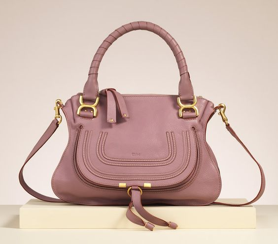 "chloe black handbag - Chloe ""Marcie"" medium shoulder bag with strap in velvet mauve ..."
