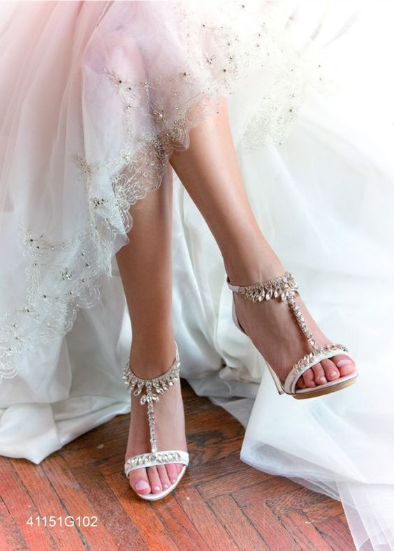 Swarovski Crystal T-Strap Wedding Shoes - Other Colors Available!