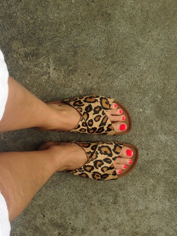 Lovin My New Sam Edelman Animal Print Slides Shoes