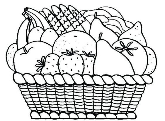 سلة فواكه للتلوين جاهزة للتحميل و الطباعة بفبوف Fruit Coloring Pages Fruits Drawing Fruit Basket Drawing