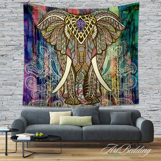 Bohemian tapestry elephant wall tapestry hippie tapestry for Decoration murale hipster