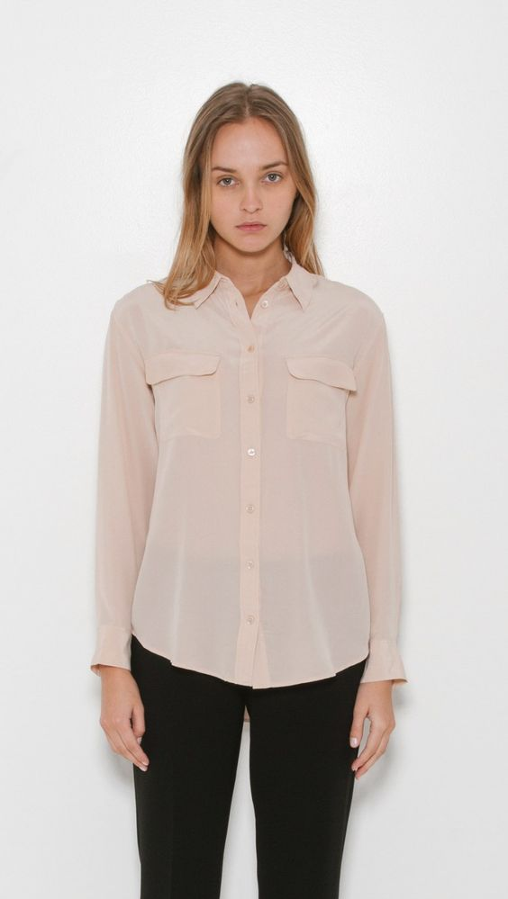 Equipment Signature Shirt in Nude   The Dreslyn