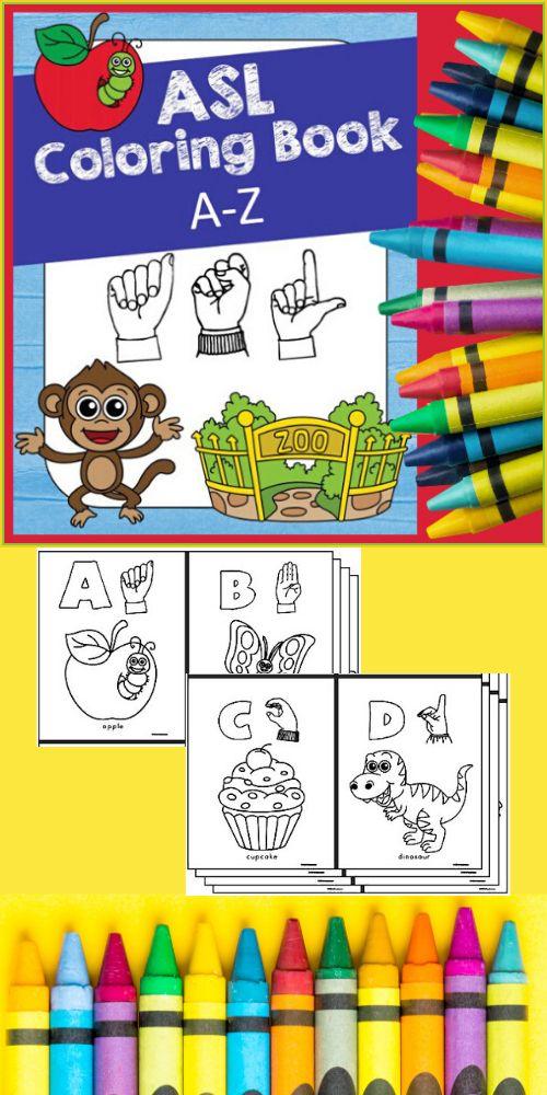 Asl Alphabet Coloring Book American Sign Language A Z Coloring Books Alphabet Coloring American Sign Language