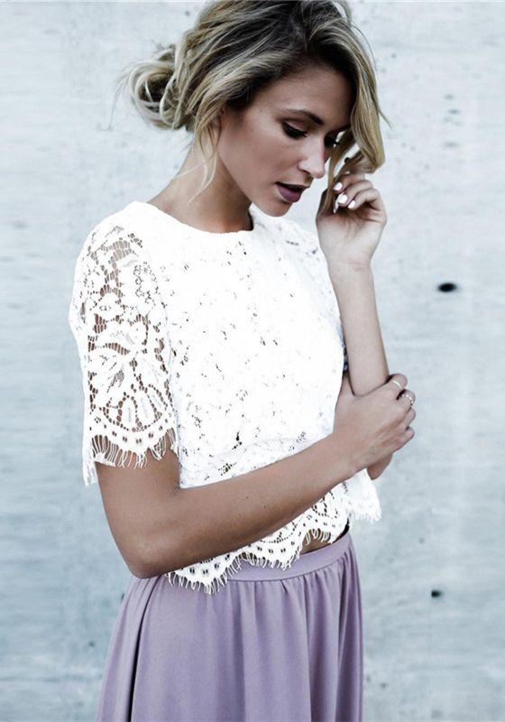 perfekte Qualität Tiefstpreis uk billig verkaufen Weiße Spitze Rundhals Elegante Bluse Tops Crop Günstige ...