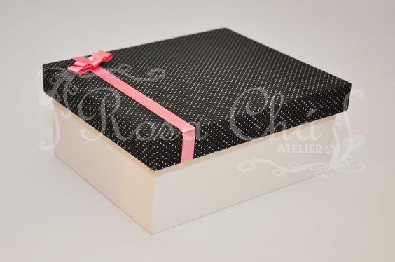 Caixinha porta biju forrada com tecido e laço chanel - SOB ENDOMENDA DE FORMA PERSONALIZADA