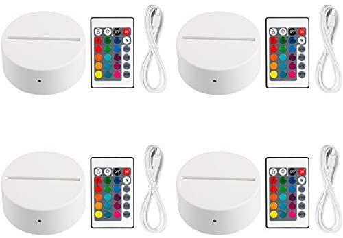 Amazon Com Eeekit 4 Pack 3d Night Led Light Lamp Base Remote Control Usb Cable Adjustable 7 Colors Decoration De In 2020 3d Led Lamp Lamp Light Light Decorations