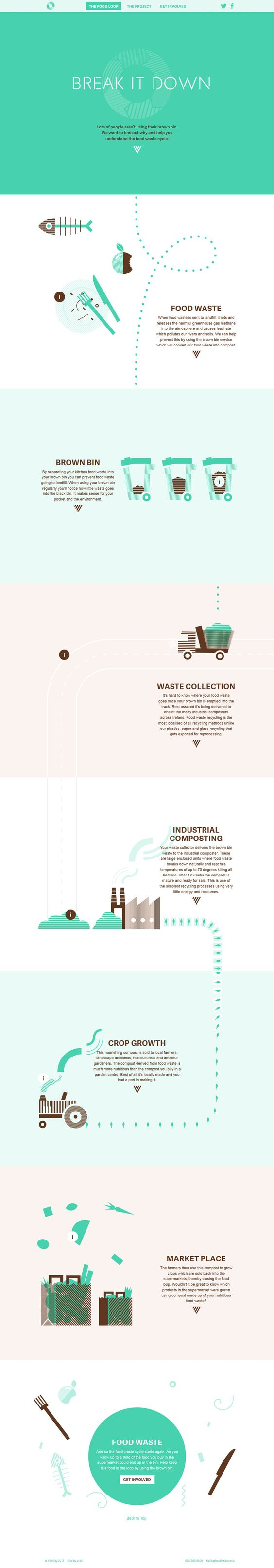 Break It Down, flat, design, web, recycling. one page, illustrations, digital
