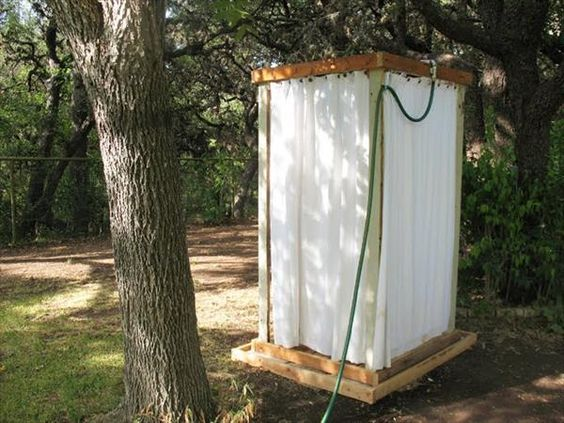 Pallet Outdoor Shower - For the true DIYer, here is a recycled pallet project that