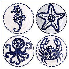 Vietri Four Asst Blu Mare Salad Plates