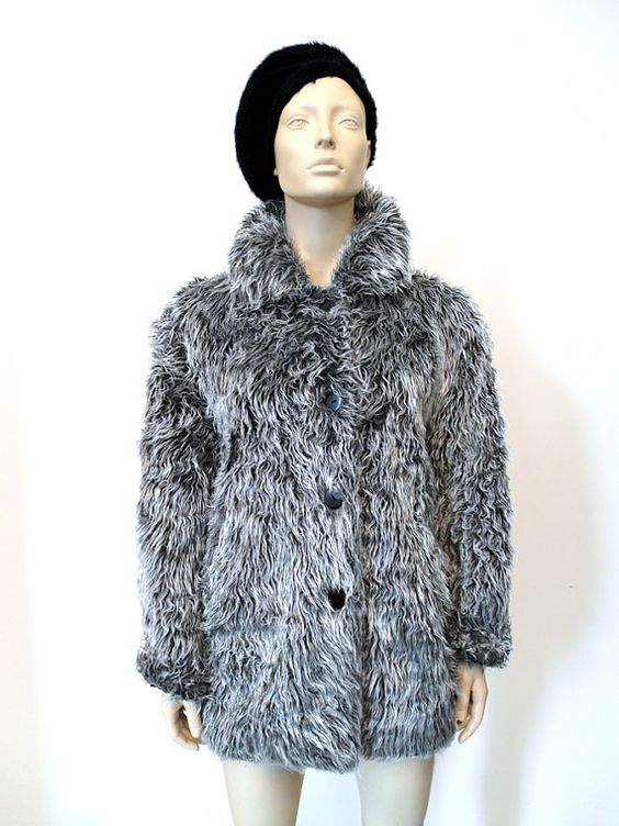RESERVED FOR CHRISTINE Vintage Faux Fur 90s Jacket Silver Grey Grunge Fluffy Shaggy Jacket Sz 38 / 40
