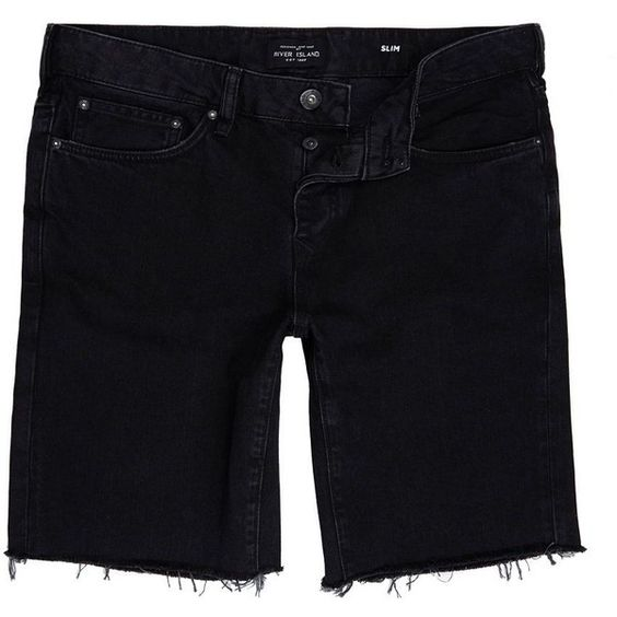 River Island Black slim fit frayed denim shorts (51 CAD) ❤ liked on Polyvore featuring men's fashion, men's clothing, men's shorts, shorts, mens slim fit shorts, mens denim shorts, mens jean shorts and slim fit mens clothing