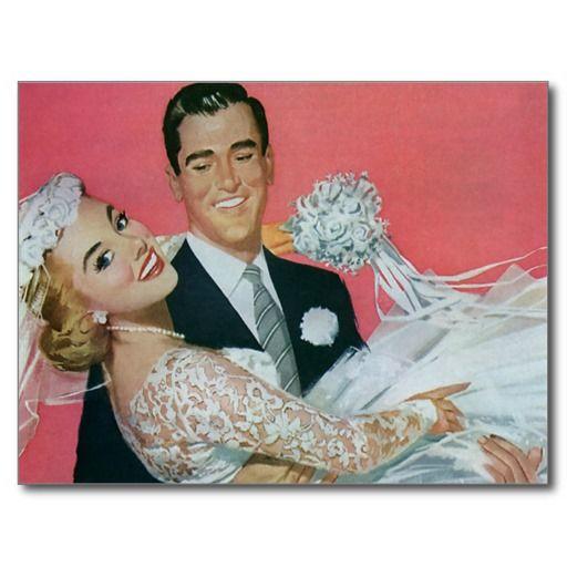 Vintage Wedding Save the Date! happy Newlyweds Postcards