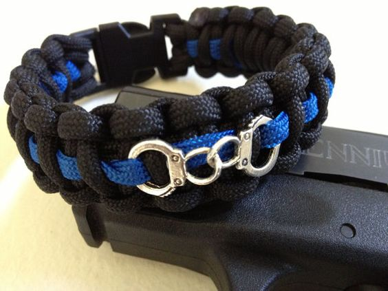 custom thin blue line paracord bracelet with by. Black Bedroom Furniture Sets. Home Design Ideas