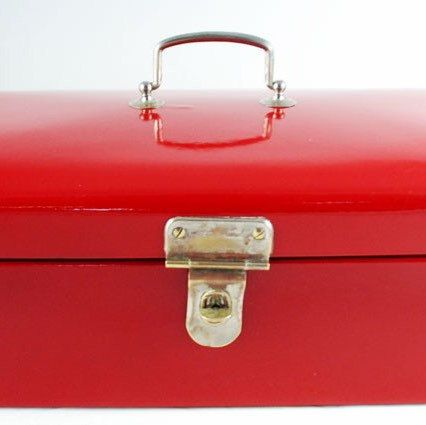 Vintage Dutch bread box red enamel