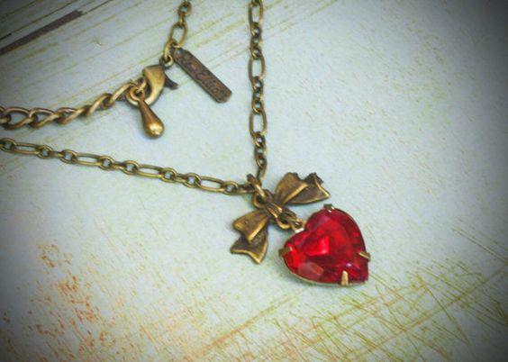 Vintage Rhinestone Necklace Brass Heart You Choose by rewelliott