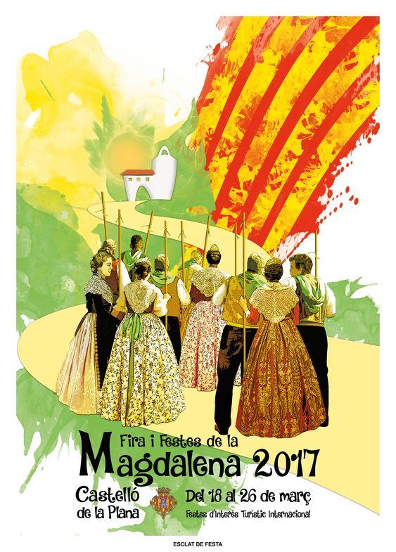 Cartel Fiestas de la Magdalena 2017 (Castelllon) Titulo: Esclat de Festa. Autores:  Marisol Barceló y Juan Vicente Fabregatde: