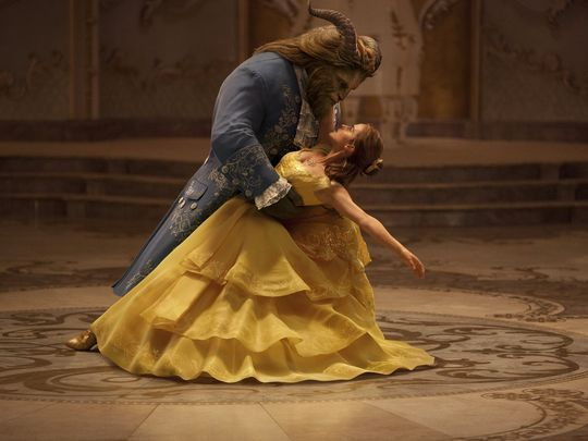 The Beast (Dan Stevens) and Belle (Emma Watson) share a dance in the live-action 'Beauty and the Beast.':
