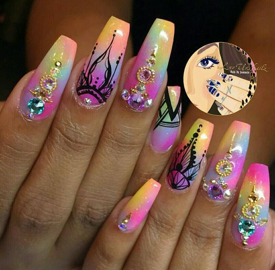 Henna Style Easy Diy Coffin Nails Designs For Summer