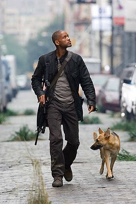 I Am Legend  pretty good movie, for a zombie apocalypse movie....