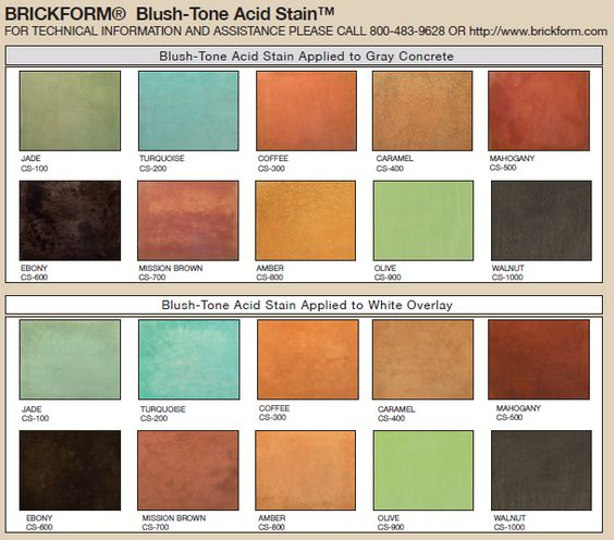 Blush Tone Acid Stain Color Chart An Exclusive Line Of