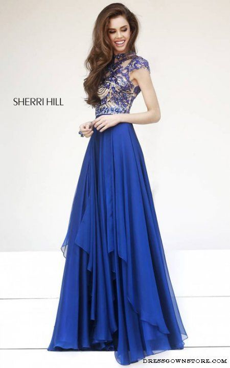 Sherri Hill 1933 Navy Cap Sleeves Gown