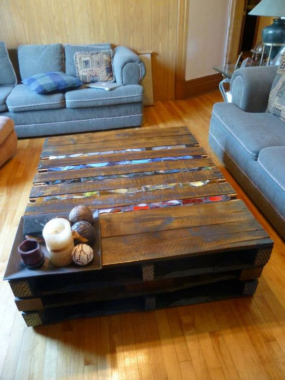 XXX -Pallet Coffee Table. $450.00, via Etsy., $300 No stain glass, SHIPPING FROM CANADA NOT INCL