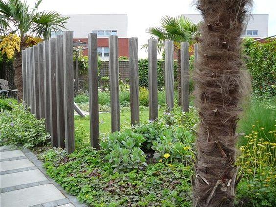 Transparante palenrij een afscheiding met behoud van het zicht op de rest van de tuin ontwerp - Tuin ontwerp foto ...