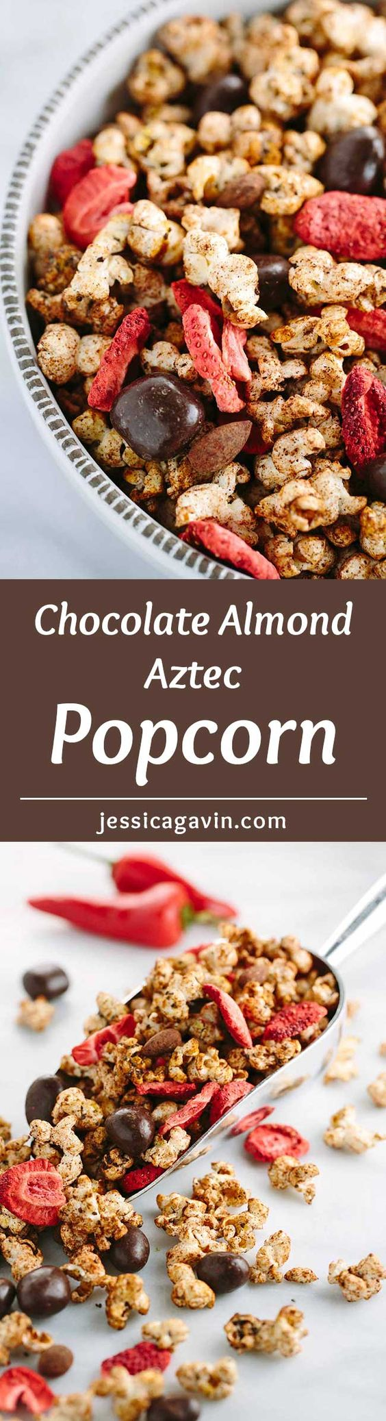 Chocolate Almond Aztec Popcorn with Strawberries - Combines exciting ...