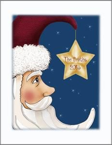 Santa Moon Folded Note , Personalized note cards and stationery at NaysNotes.com