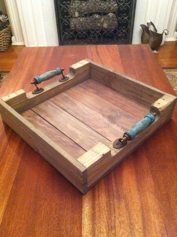 Reclaimed Weathered Gray Pallet Wood Serving Tray With Turquoise Blue Handles on Etsy, $59.00 #etsy #naturecolorlovers: