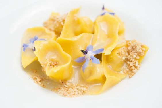 Tortello filled with Parmesan, lavender, nutmeg and almond