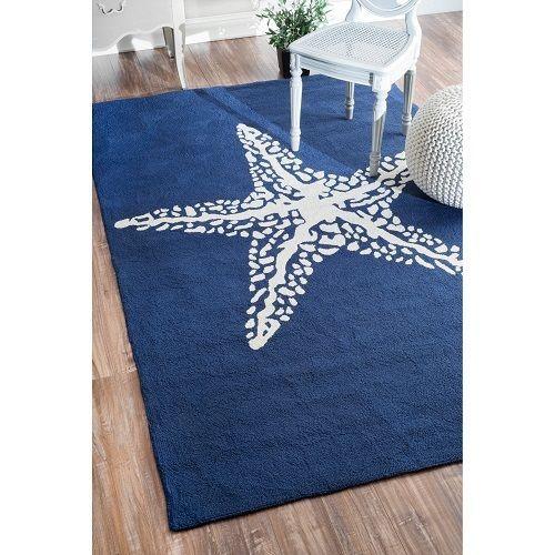 Outdoor blue carpet handmade starfish rug nautical decor patio furniture beach #nuLOOM #Nautical