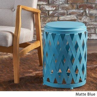 Pecola 12 Inch Round Lattice Side Table By Christopher Knight Home Teal Blue Table Iron Table Decorating Coffee Tables