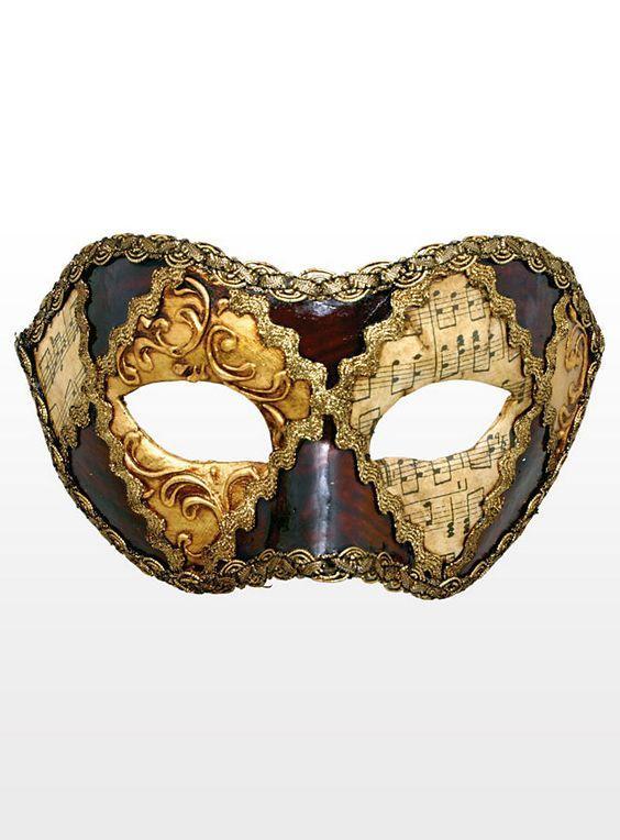 Colombina scacchi oro cuoio musica - Venezianische Maske