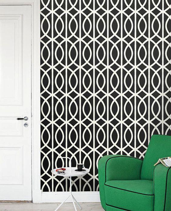 Removable self adhesive modern vinyl material wallpaper for Modern vinyl wallpaper