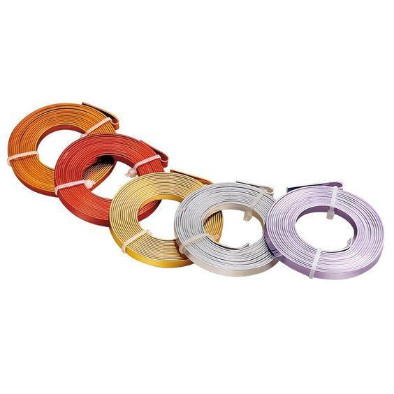 Aludraht flach, farbig lackiert - Speckstein, Holz, Styrodur, Draht, Metall - Sortiment