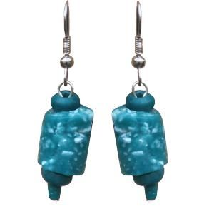 Jewelry: Marble-Earrings-Teal-One Size