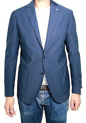 L.B.M 1911 giacca uomo sfoderata blu chiaro 100% cotone regular slim