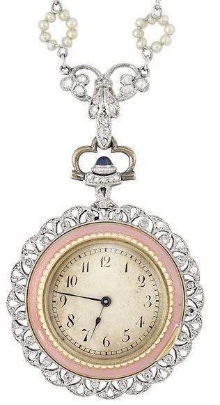 Enamel, seed pearl, and diamond pendant-watch. Belle Epoque, circa 1910. Via Diamonds in the Library.: