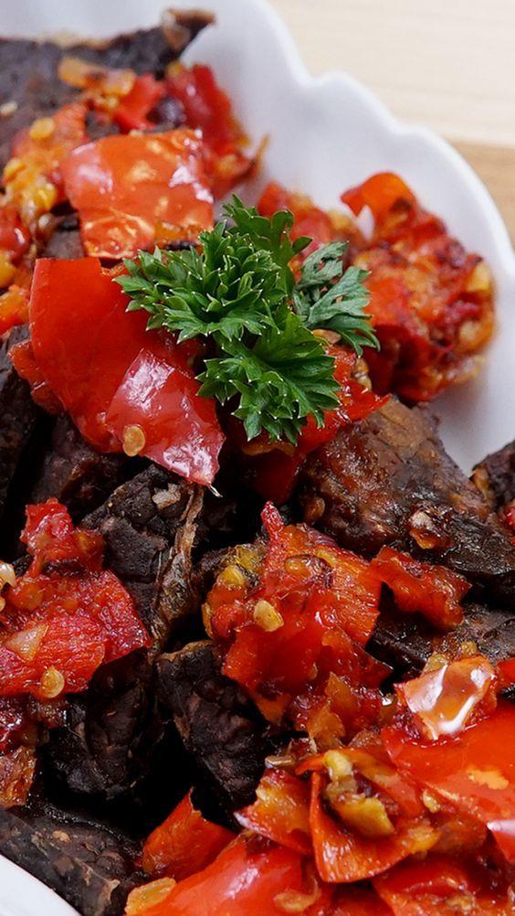 Resep Daging Balado : resep, daging, balado, Typical, Balado, Jerky, Recipes, Indonesian, Western, Sumatra, Dendeng,, Resep, Masakan,, Masakan
