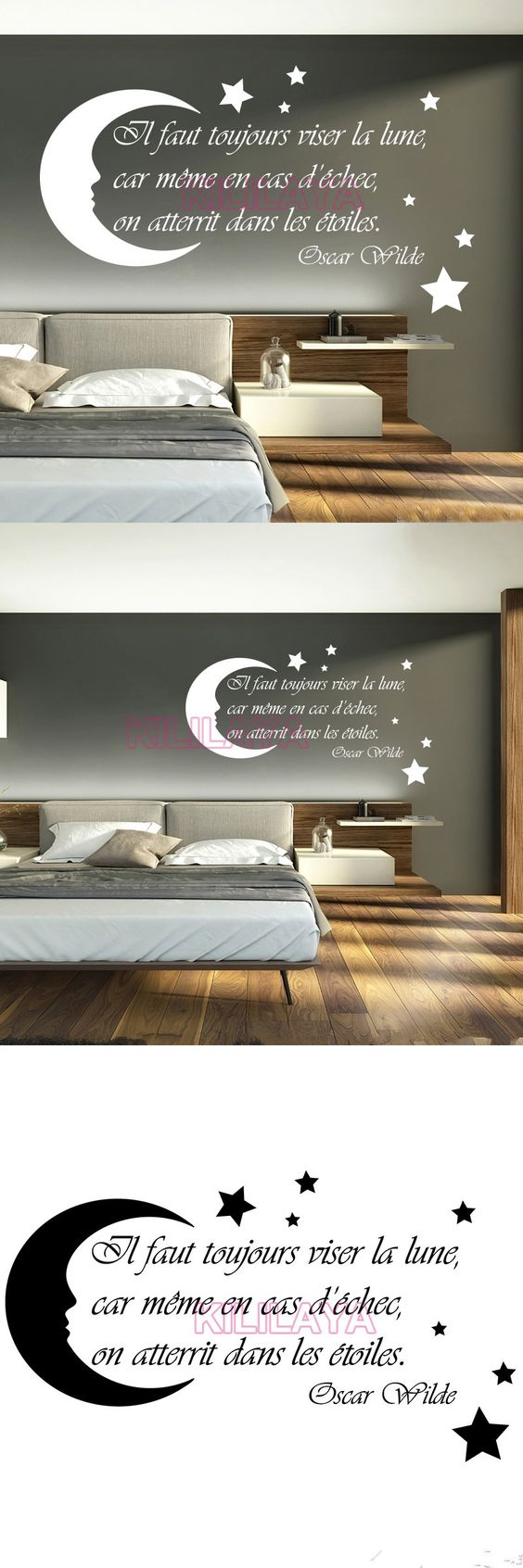 French Stickers Moon Stars Vinyl Wall Sticker Decals Art Wallpaper For Kids Living Room Home Decor House House Decoration